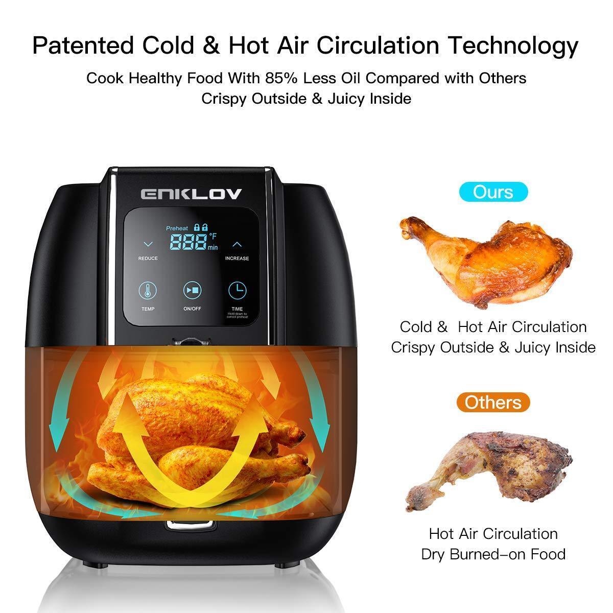 Enklov 8 in 1 Power Air Fryer Oven 1350W Precise Temperature-Controlled XL 5.5QT