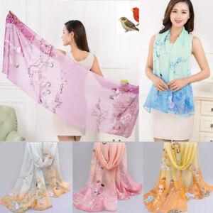 New-Fashion-Women-039-s-Printed-Flower-Soft-Silk-Chiffon-Neck-Scarf-Wrap-Shawl-Stole