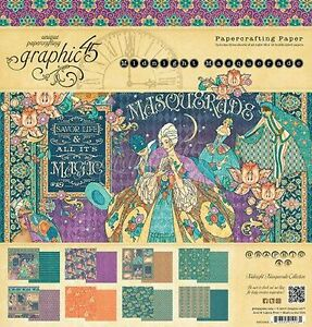 "GRAPHIC 45 ""MIDNIGHT MASQUERADE"" 12X12 PAPER PAD 24 SHEETS SCRAPJACK'S PLACE"