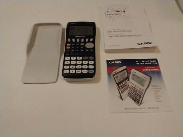 Casio fx-9750GIII-we Graphing Calculator- white +manual+ cd rom works great