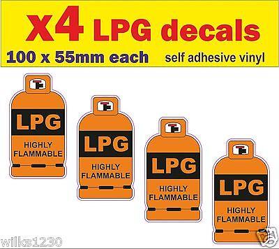 2 x LPG WARNING STICKER Self Adhesive Gas Caravan Motor-home 100x100mm Free P/&P