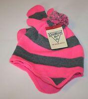 Oshkosh Winter Hat & Mittens Set Size 2t-4t Year Pink Stripes Pom Poms