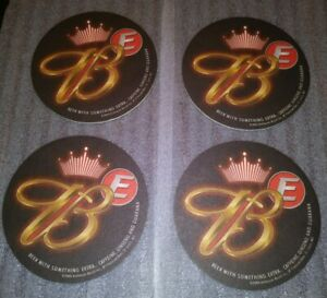 Unique-Lot-Set-of-4-Budweiser-E-Round-Beer-Postcard-Coasters-Paper-Board