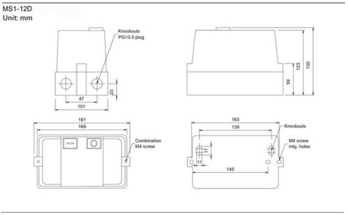 1HP 230V 3 PH NHD Enclosed Motor Starter START STOP 4.5-6.5A Overload 220V Coil