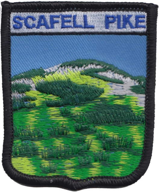 SCAFELL PIKE LAKE DISTRICT ENGLAND CREST FLAG WORLD EMBROIDERED PATCH BADGE