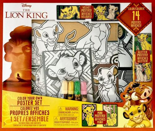 Disney THE LION KING Color Your próprio cartazes 14 Pcs e marcadores Conjunto De Arte-Novo