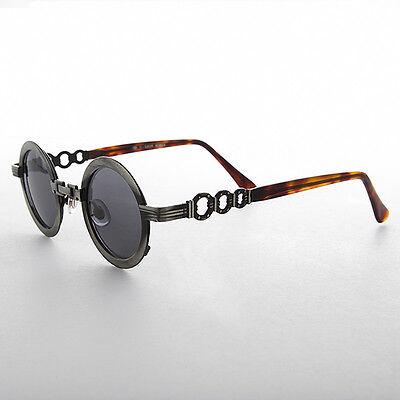 60er Jahre Style Retro Kreis Sonnenbrille Mit Kette Brücke Pistole/graue Linse -