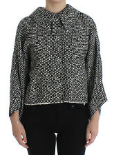 NWT $1400 DOLCE & GABBANA Black White Tweed Crystal Jacket Coat IT42 / US8 / M
