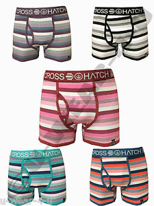 MENS CROSSHATCH VAGA STRIPE BRIGHT COLOURED FITTED TRUNK BOXER SHORTS. S,M,L,XL
