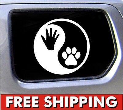 Yin Yang Hand and Paw Print Vinyl Car Window Decal Bumper Sticker US Seller
