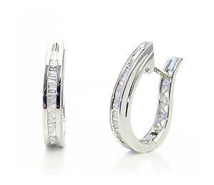 10K-White-Gold-Baguette-Diamond-Hoop-Earrings-Oblong-Shape-16mm-Drop-25ct