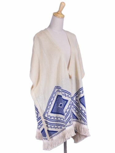 frange Marca Tribal retro Ricamato sul Pink Owl Aztec con Poncho Pattern large 4FWOw0q