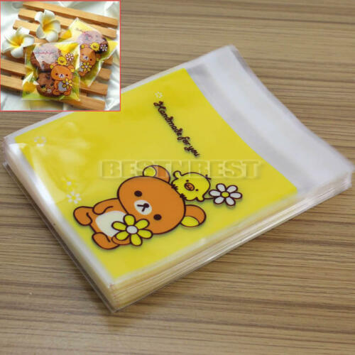 100Pcs Bear Pattern Plastic Adhesive Gift Bags for Candies Cookies Biscuit New