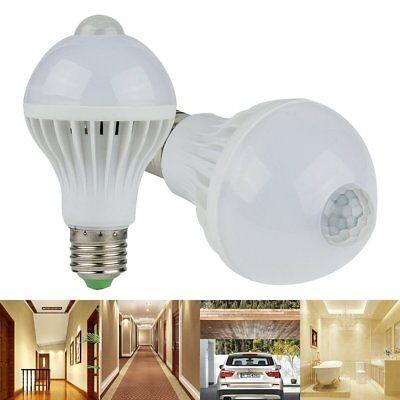 E27 7W LED Bulb Light Sound Sensor Auto PIR Motion Detection Household