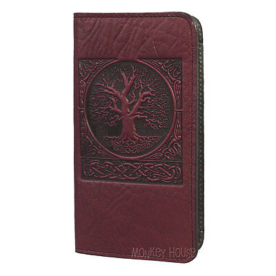 World Tree Wine-Brown Hand Crafted Leather Checkbook Cover by Oberon Design