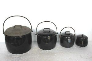 4-Pc-Enamel-Black-Cooking-Pot-Vintage-Kitchenware-Home-Decor-PY-47