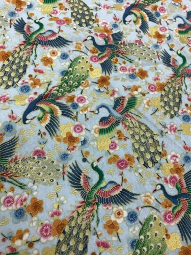 """60/"""" 150CM WIDE JAPANESE ORIENTAL FABRIC FREEDOM GOLD FOIL -CRAFT COTTON"""
