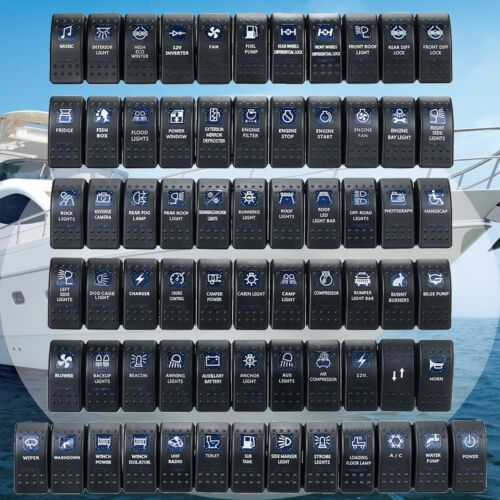 Waterproof Car Van Boat Marine Dash Rocker Switch Blue 12V 24V ON-OFF LED Light