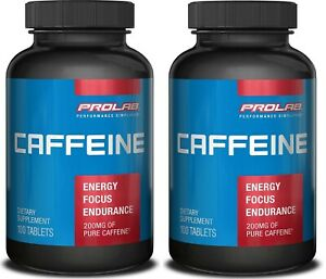 PROLAB Caffeine Supplement 200 mg 200 Tablets (Pack of 2) SEALED QUICK ENERGY