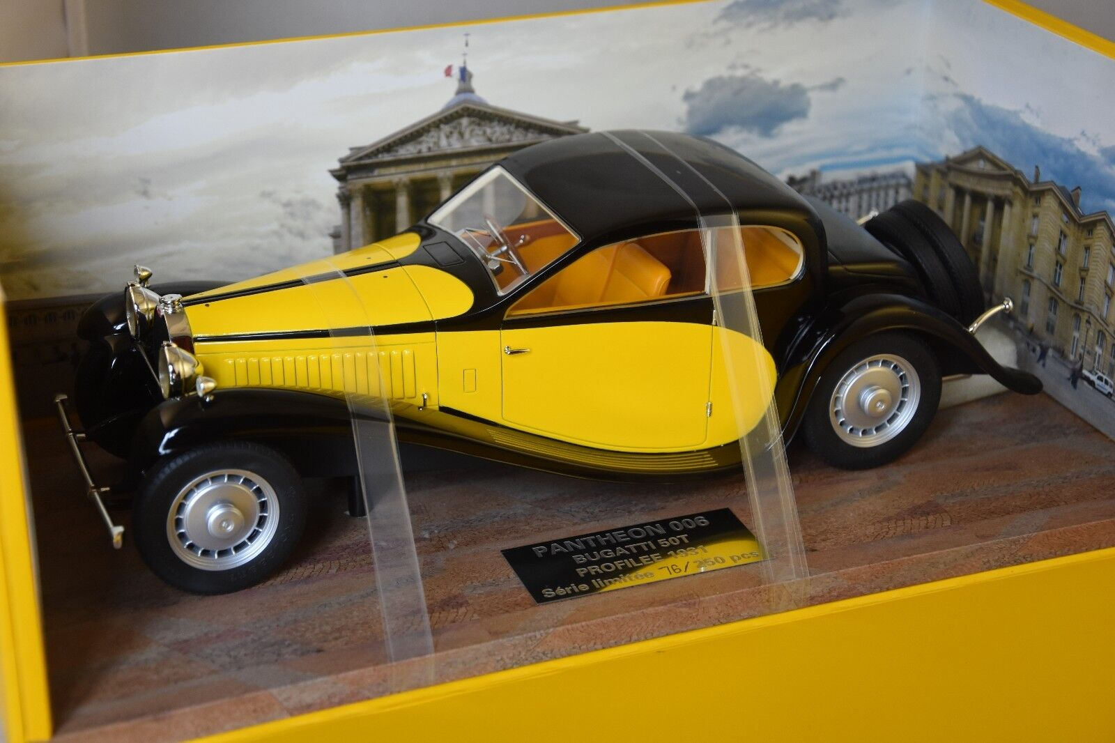 PANTHEON 006 - BUGATTI TYPE 50 1931 PROFILE giallo   nero 1 18
