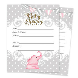 Baby Girl Shower Invitations Elephant Cards Invites Decorations Pink