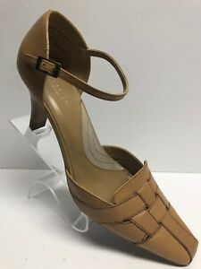 Kenneth-Cole-Reaction-Size-8-5-Beige-Tan-Leather-Pointed-Toe-Pump-Heel-649032