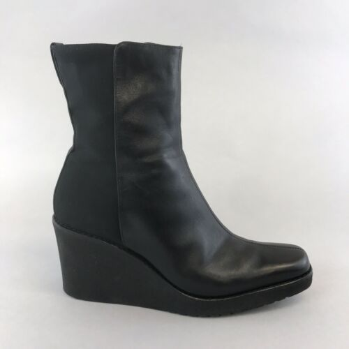 Russell /& Bromley x Donald J Pilner Black Leather Ankle Wedge Boots Size US6 UK4
