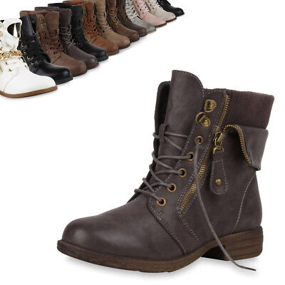 Zipper Damen Stiefeletten Worker Boots Schnürstiefel 72681 Trendy