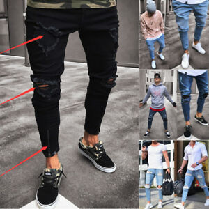 Fashion-Men-039-s-Ripped-Skinny-Jeans-Destroyed-Frayed-Slim-Fit-Denim-Pant-Zipper
