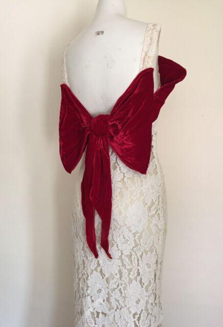1c48829059 Vintage 1930s Backless Silk Lace Gown Merlot Velvet Dramatic Bow Bias Cut  Deco