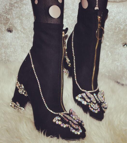 2019 Womens Rhinestones Shiny Ankle Stretch Riding Boots High Heels Heels Heels Stilettos cb5623