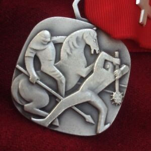 Huguenin Silver Pin Medal Horse Battle Mace Knight Sword Shield Warrior Brave