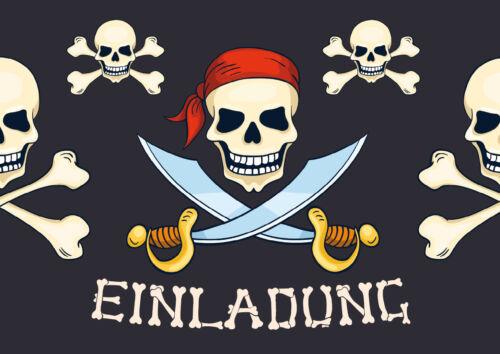 Piraten-Einladungskarten für Kindergeburtstag o. Geburtstag mit Schatzsuche