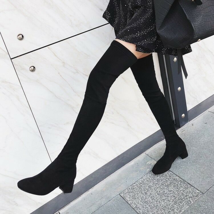 WOmens Stretchy Low heel Suede Leather Round toe over-the-Knee Thigh high Boots