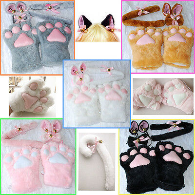 Halloween 1Set Cat Ears Plush Paw Claw Gloves Tail Bow-tie Anime Cosplay Costume