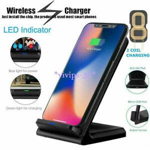 qi ladestation wireless charger induktives ladeger t f r iphone x xs 9 8 xr ebay. Black Bedroom Furniture Sets. Home Design Ideas