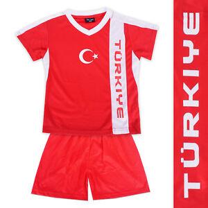 Fussball-Trikot-Hose-TURKEI-gedrucktes-Wappen-Fussball-EM-2016-in-5-Groessen