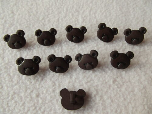 10 x DARK BROWN KOALA BEAR BUTTONS ~ APPROXIMATE SIZE 10mm x 10mm