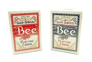 BEE-Playing-Cards-92R-Poker-Cards-2-Decks-1-Blue-Deck-1-Red-Deck-Brand-New