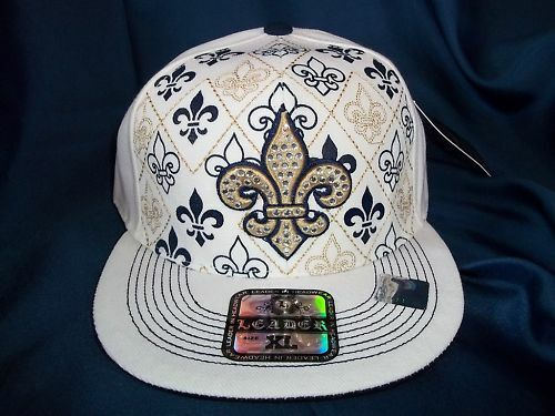 FLEUR DE LIS FLAT BILLED FITTED XL HAT CAP IN WHITE