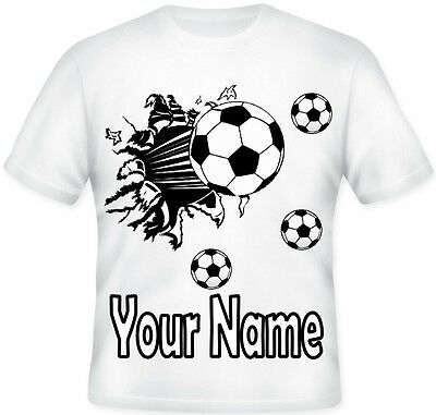 Kids BOYS Personalised Football Sport Team Player T shirt Great Gift Idea!