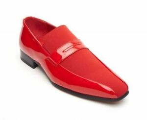 Leather rosso Faux Uomo Moccasin Monzese Rossellini Wedding scarpe Shiny Loafer Yxqv6C4w