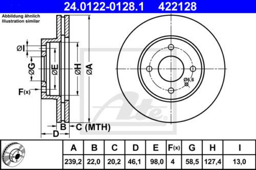 907A/_ VA 2x ATE Bremsscheibe Vorderachse 24.0122-0128.1 für ALFA ROMEO 33