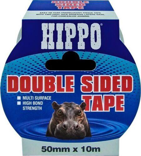 Ruban adhésif double face 50MMX10M Hippo fort permanent clair Ruban dissimulée rejoindre