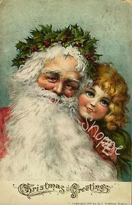 Vintage-Christmas-Fabric-Block-Victorian-Old-World-Santa-Claus-Greetings