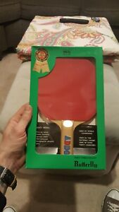 Vintage-GREEN-BOX-Butterfly-Ping-Pong-Paddle-ADDOY-in-original-box