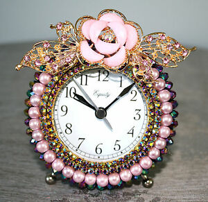 Dusty Rose Pearls, Iridescent Crystal Glass Beads and Rhinestone Alarm Clock