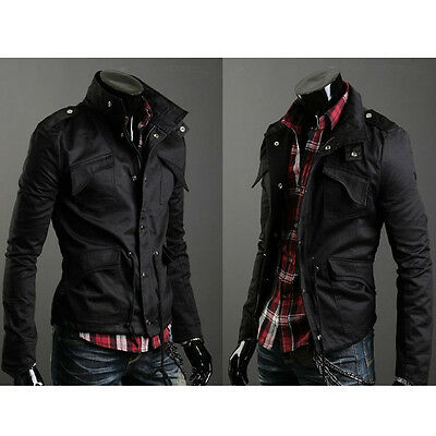 New Fashion Mens Zip Button Hooded Military Slim Fit Collar Jacket Coat Outwear