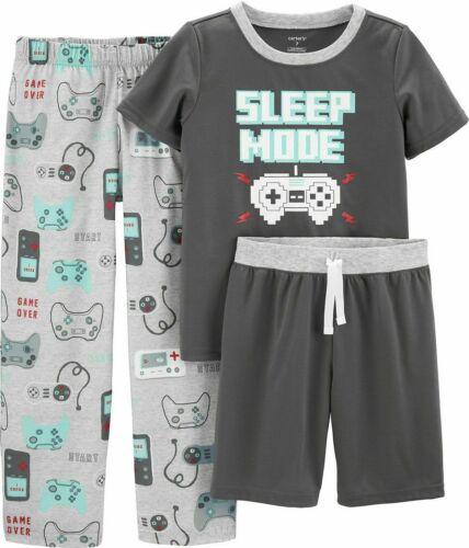 NWT Carter/'s Boys 3 Piece Sleep Mode Pajama Set Size 5 Shirt Shorts Pants $34