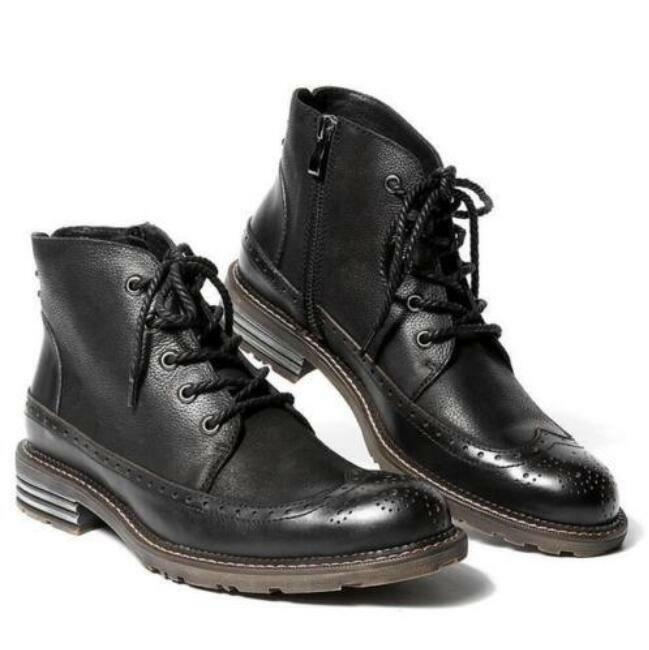 Hot Punk Fashion Punk Hot Uomo Lace up Wing Tip Side Zipper Motorcycle Pelle Ankle Boot 843104